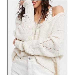 Free People Cream Seashell Cropped Cutout Sweater